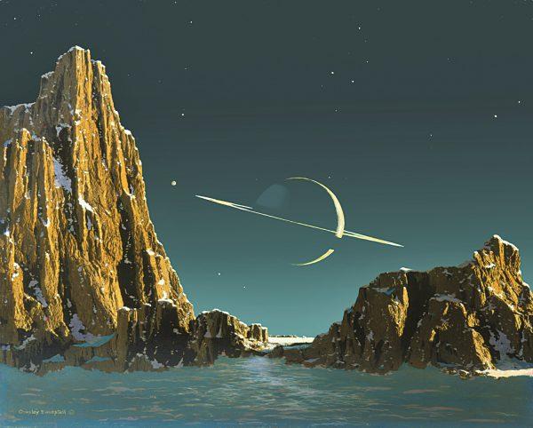 <i>Saturn as Seen from Titan</i>, 1943. Bonestell LLC reproduction.