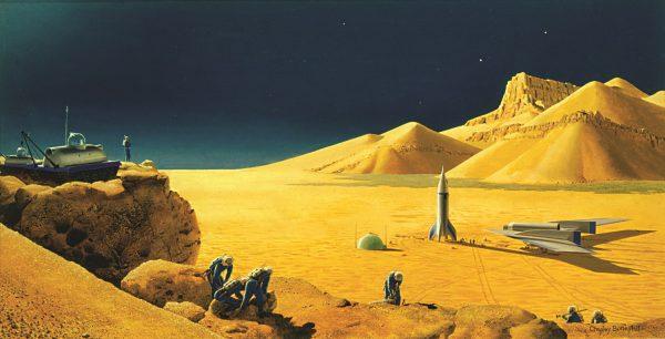 Exploring Mars, 1953. Bonestell LLC reproduction.