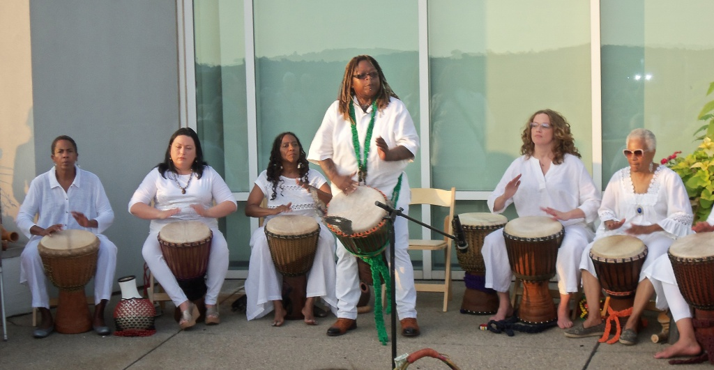 The percussive band Abafasi performed throughout the book launch event.